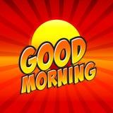Good Morning Comic Speech Bubble, Cartoon. Stock Image