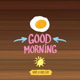 Good morning concept. breakfast fried chicken egg with a orange yolk in the center of the fried egg flat laying on. Fried Egg vector illustration. good morning Royalty Free Stock Image