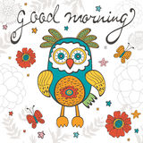 Good morning concept card with cute owl character vector illustration