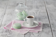 Good morning concept with espresso and macaroons Stock Photography