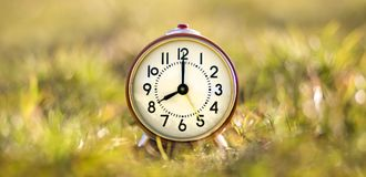 Good morning!. Good morning concept - retro red alarm clock standing in the grass Stock Photos