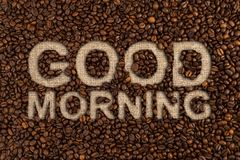 Good morning concept written on coffee beans Stock Photos
