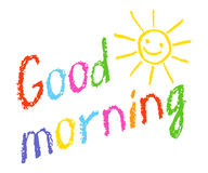 Good morning crayon chalk hand lettering handmade with smiling sun. Hand drawn colorful text. Royalty Free Stock Photo