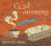 Good morning with a cup of coffee vector. Good morning with a cup coffee vintage style vector grunge poster background Royalty Free Stock Photo
