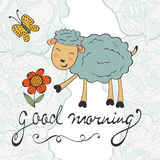 Good morning. Cute card with smiling sheep Royalty Free Stock Images