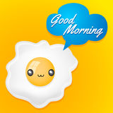 Good Morning - Cute fried egg with balloon card Stock Image