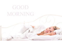 Good morning for cute woman Royalty Free Stock Image
