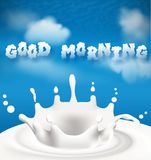 Good morning drawn in the sky Royalty Free Stock Image