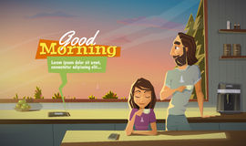 Good morning, drink coffee with family vector illustration
