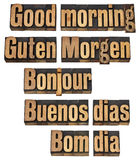 Good morning in five languages Royalty Free Stock Photos