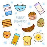 Good morning. Funny characters breakfast vector collection toasts bread, milk, fried egg. Set of cute food and drink. Icons in kawaii style with smiling face Stock Images