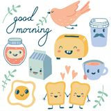 Good morning. Funny characters breakfast royalty free illustration