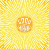 Good Morning. Greeting card. Handwritten label with radially grunge sunbeams Royalty Free Stock Photos
