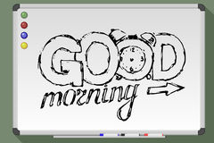 Good morning greeting card on rays background. Vector stock illustration Stock Photos