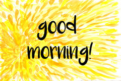 Good morning greeting on yellow background. Good morning greeting on yellow watercolor painted background Royalty Free Stock Images