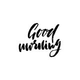 Good morning. Hand drawn lettering text. Handwritten calligraphy. Vector illustration. Stock Image
