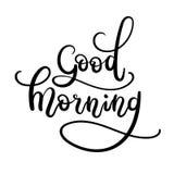Good Morning Hand Lettering. Modern Calligraphy Greeting Card. Vector Illustration. Chalkboard Style Poster stock illustration