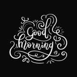 Good Morning Hand Lettering. Modern Calligraphy Greeting Card. Vector Illustration. Chalkboard Style Poster vector illustration