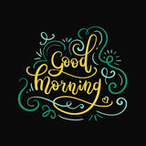 Good Morning Hand Lettering. Modern Calligraphy Greeting Card. Vector Illustration. Chalkboard Style Poster royalty free illustration