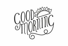 Good morning Handwritten black text isolated on white background Royalty Free Stock Photo