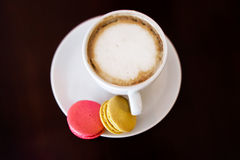 Good morning or Have a nice day message concept - white cup of f Stock Photos