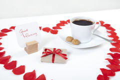 Good morning heart coffee Stock Images