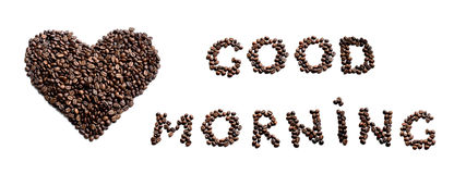 Good Morning! Heart made of coffe beans Stock Photography