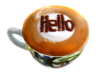Good Morning Hello  Cappuccino. Good Morning Hello  cup of Cappuccino Royalty Free Stock Images
