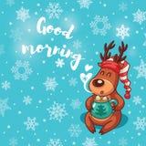 Good morning. Holiday card with cute cartoon deer in nightcap Stock Photos
