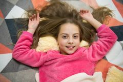 Good morning. I want to play. International childrens day. Childhood happiness. Small girl child ready to sleep. Time to. Relax. Little happy girl in bedroom stock images