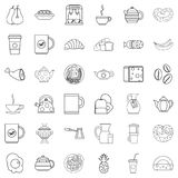 Good morning icons set, outline style Royalty Free Stock Photography