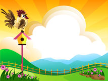 Good morning. Illustration of landscape with flowers,clouds,and chicken Royalty Free Stock Photo