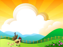 Good morning. Illustration of landscape with flowers,clouds,and chickens Stock Images