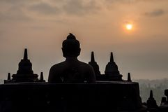 Good morning, Indonesia. Sunrise in the morning at the temple in Indonesia Royalty Free Stock Photography