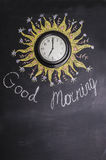 Good morning. Inscription in chalk on the wall: Good morning Stock Photo