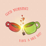 Good morning - kissing cups vector illustration.  Royalty Free Stock Photography