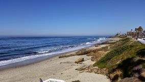 Good Morning La Jolla Beach. Blue water on the beach in the morning is beautiful Royalty Free Stock Photos