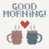Good morning lettering with cups of coffee and heart. Imitation of cross-stitch. Vector illustration Stock Images