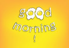 Good morning lettering with fried eggs on th yellow background, horizontal vector illustration royalty free illustration