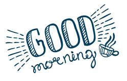 Good morning lettering. Hand drawn illustration Royalty Free Stock Photos