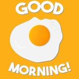 Good morning lettering vector illustration with scrambled eggs . Flat Design vector illustration