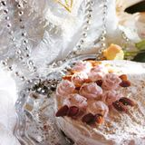 Sponge cake covered with white icing Royalty Free Stock Photos