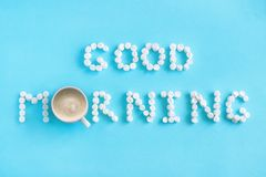 Good Morning from marshmallow and cup of coffee. Concept Stock Photo