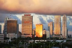 Good Morning Miami. The very first sunlight reflecting off Miami downtown skyscrapers (Florida stock image