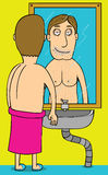 Good morning Mirror. A naked man mirroring in the morning Royalty Free Stock Photos