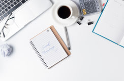 Good Morning, Modern white office desk table with laptop. Stock Photos