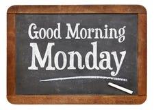 Good Morning Monday on blackboard Royalty Free Stock Photos