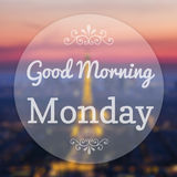 Good Morning Monday. On Eiffle Paris blur background stock illustration
