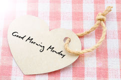 Good morning Monday. Heart with text Good morning Monday on tablecloth royalty free stock photos