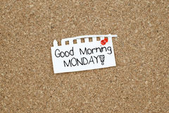 Good Morning Monday Note Royalty Free Stock Images